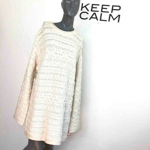 DKNY Womens Cable Knit Sweater Dress Ivory Long Sl